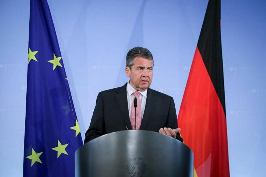 German Vice Chancellor and Foreign Minister Sigmar Gabriel gives a press conference in Berlin, on July 20, 2017.