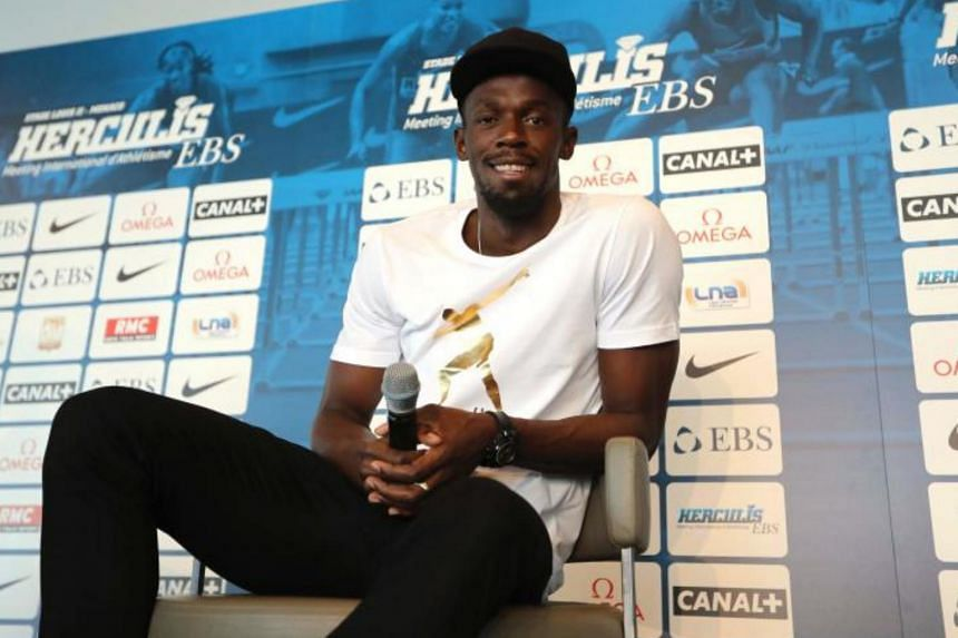 Jamaican sprinter Usain Bolt poses during a press conference on June 19, 2017 in Monaco, two days ahead of his race at the IAAF Diamond League meeting in London.