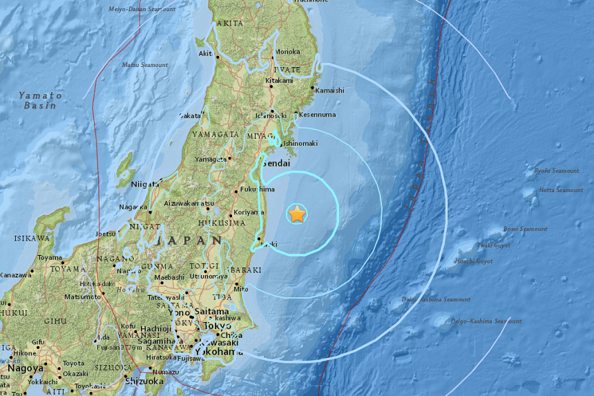 An earthquake with an initial magnitude of 5.8 hit northeast of Tokyo on Japan's main island of Honshu on July 20, 2017.