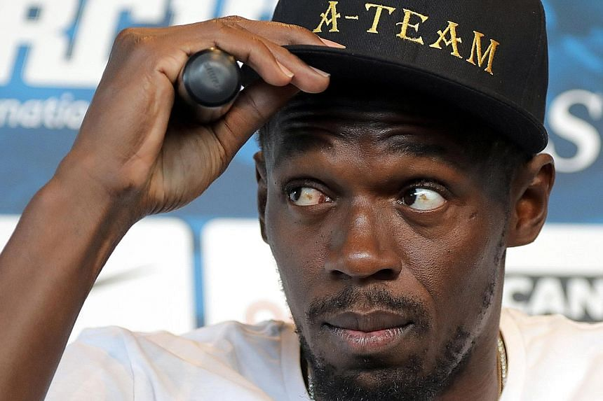 Jamaican sprinter Usain Bolt at a news conference for the IAAF Diamond League Herculis meet in Monaco on Wednesday.