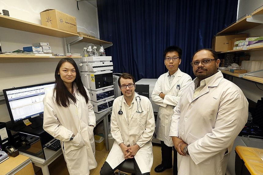 The study on the thymosin beta-4 protein was done by a team comprising (from left) Ms Kristy Purnamawati, Assistant Professor Chester Drum, Mr Warren Tan Kok Yong and Mr Leroy Pakkin.