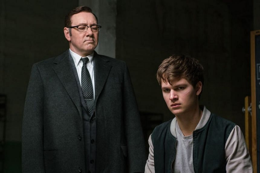 Kevin Spacey (above left) and Ansel Elgort in Baby Driver.
