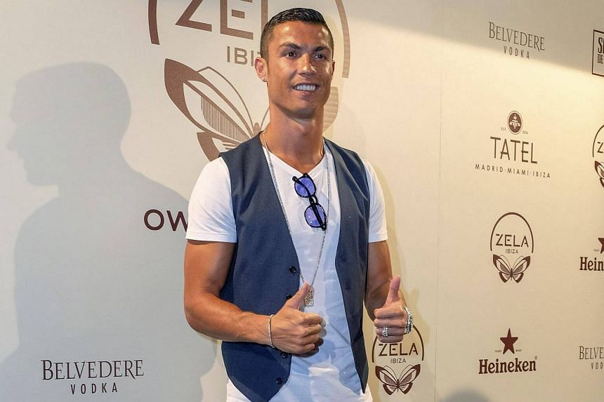 Portuguese soccer player Cristiano Ronaldo posing as he arrives to the 'Owner's Party' of Zela restaurant, on Ibiza Island in the Baleares, Spain, on July 17, 2017.