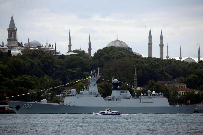 The Chinese navy's guided missile frigate Jingzhou (FFG 532) is docked at Sarayburnu pier in Istanbul, Turkey, on July 18, 2017.