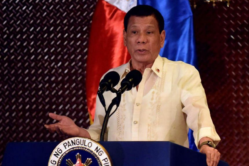 President Rodrigo Duterte at the Malacanang presidential palace in Manila on July 18. Mr Duterte made the declaration after various advocate groups assailed his bloody war on drugs during a US Congress human rights commission hearing.
