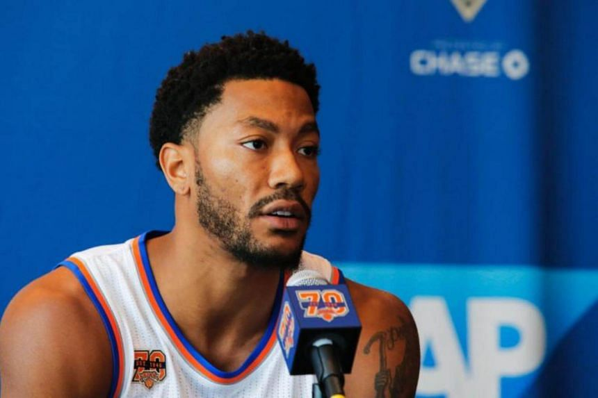 Derrick Rose during a press conference during the New York Knicks Media Day in White Plains, New York.