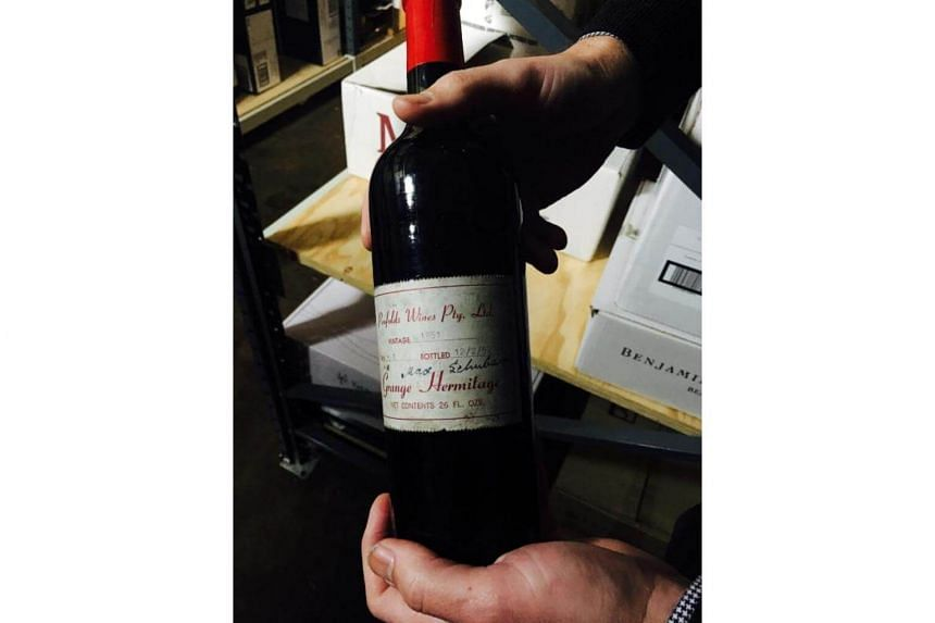 A rare bottle of first vintage 1951 Penfolds Grange wine which went to auction on July 19 in Melbourne.