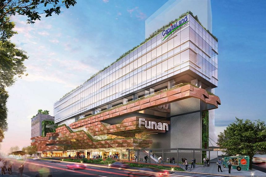 Artist's impression of the redeveloped Funan Mall set to open at the end of 2019.