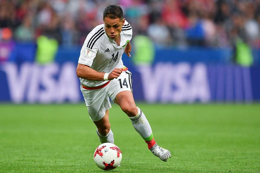 Mexico's forward Javier Hernandez plays the ball during the 2017 Confederations Cup group A football match between Mexico and Russia at the Kazan Arena Stadium in Kazan.