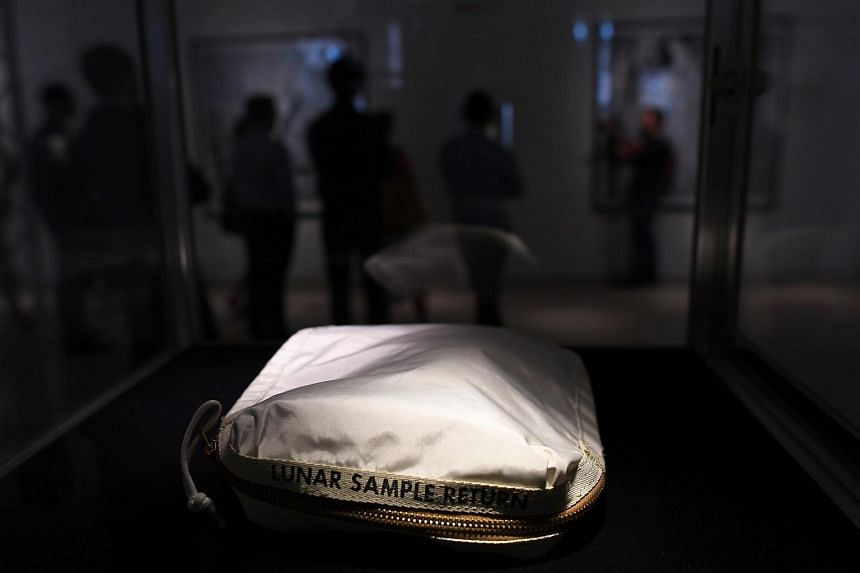 The Apollo 11 Contingency Lunar Sample Return Bag, used by Neil Armstrong in New York on July 13, 2017.