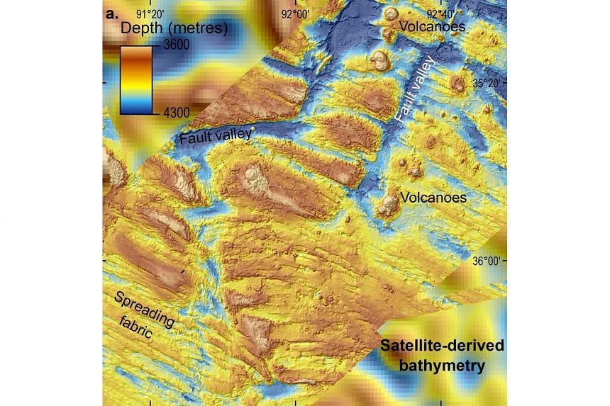 A computer-generated view (left) of part of the area (above) searched during the hunt for MH370. The data reveals an underwater world of soaring ridges, deep valleys and volcanoes.