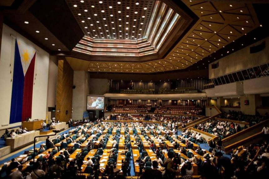 The Plenary Hall of the House of Representatives, where the joint session on martial law is taking place, in Manila on July 22, 2017.