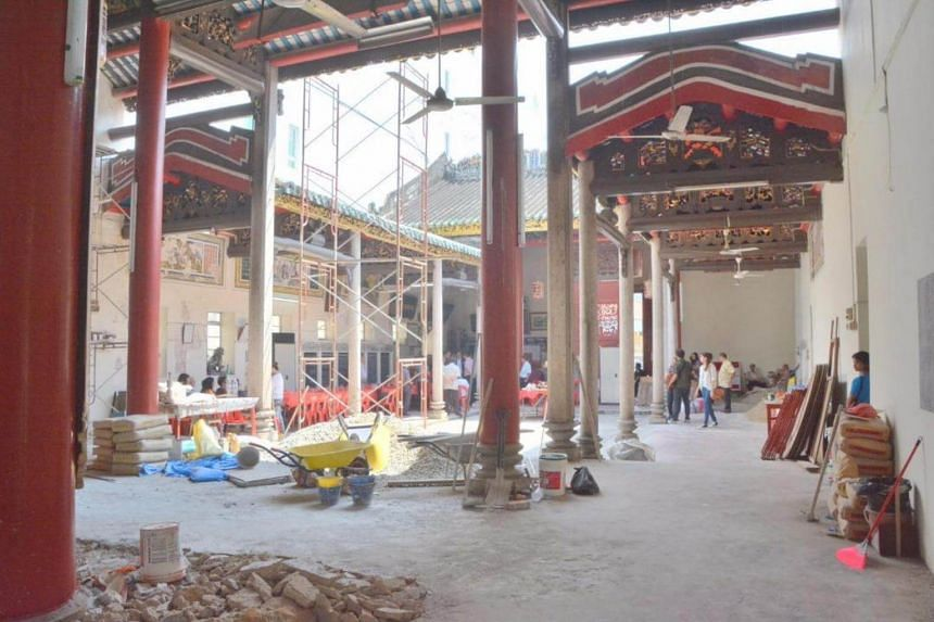 The interior of  Ng Fook Thong Temple in Penang. A stop-work order has halted the illegal renovation works at the heritage building.