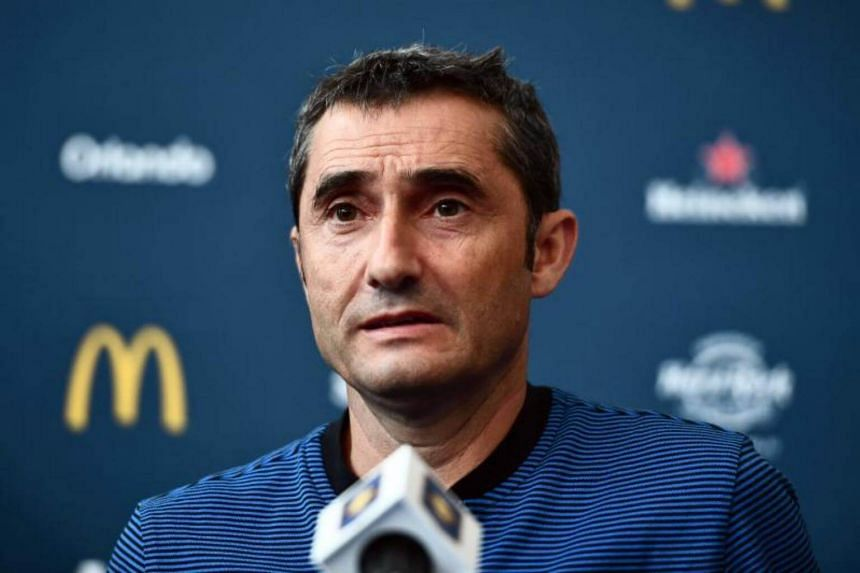 Barcelona's coach Ernesto Valverde speaks during a press conference at the Red Bull Arena in Harrison, New Jersey, on July 21, 2017.