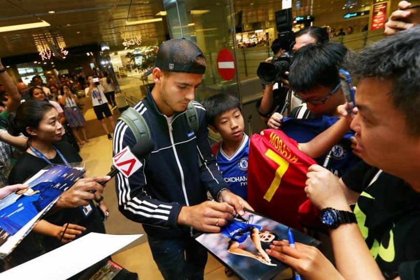 Alvaro Morata was the first player to arrive in Singapore for the International Champions Cup.