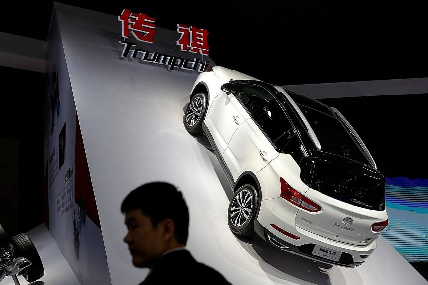 The Trumpchi GS4 electric car from GAC Group displayed at the Shanghai Auto Show in April.