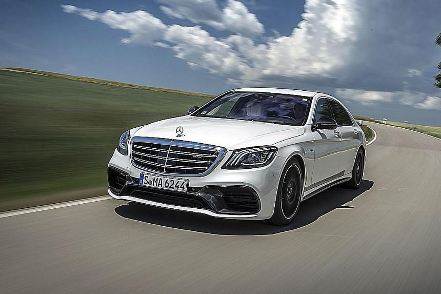 The Mercedes- AMG S63 has a twin- turbocharged 4-litre V8 that produces 612bhp and 900Nm of torque.