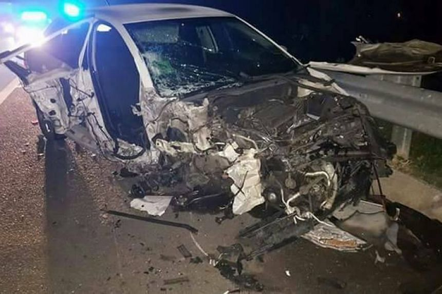 A man allegedly drove his car against the traffic flow from the Bumbung Lima rest area towards the Sungai Dua toll plaza in Penang and caused an accident involving five cars on July 22, 2017.