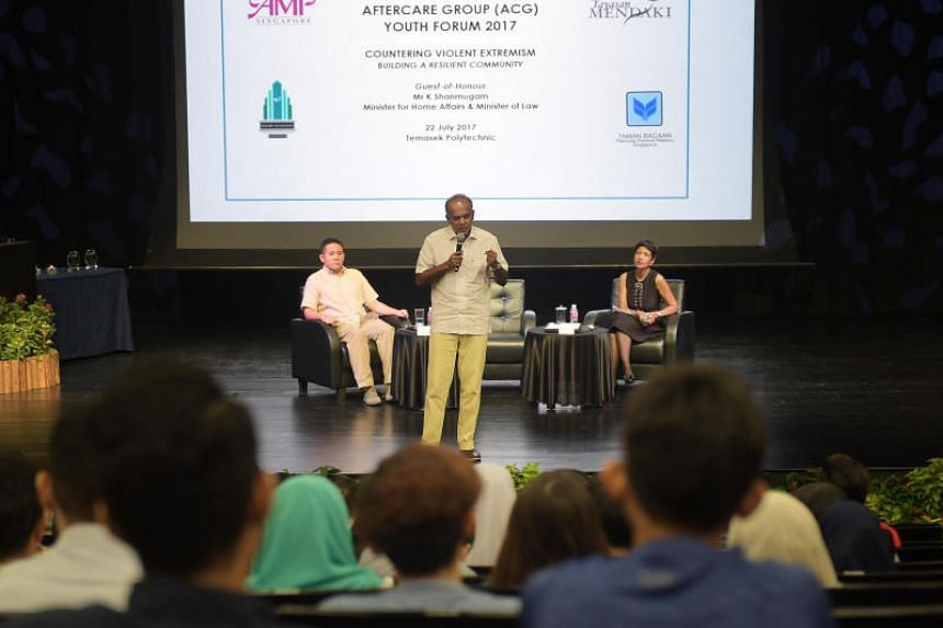 Minister K Shanmugam speaking at the Inter-Agency Aftercare Group's annual youth forum at the Temasek Polytechnic on July 22, 2017.