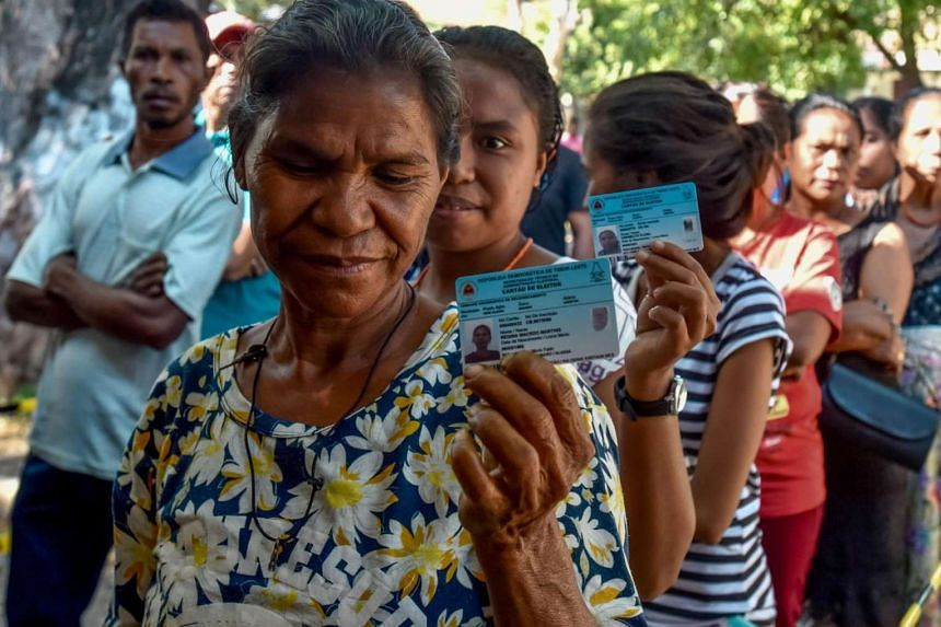 Citizens of Timor Leste lining up to vote during parliamentary election in Dili on July 22, 2017.