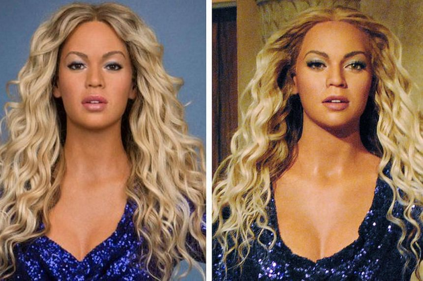 The wax figure of Beyoncé at Madame Tussauds before (left) and after the adjustments.