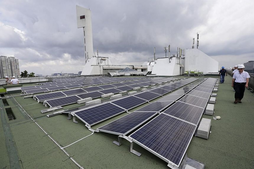 Solar panels on the rooftop of Jurong Town Hall on June 21 2017.