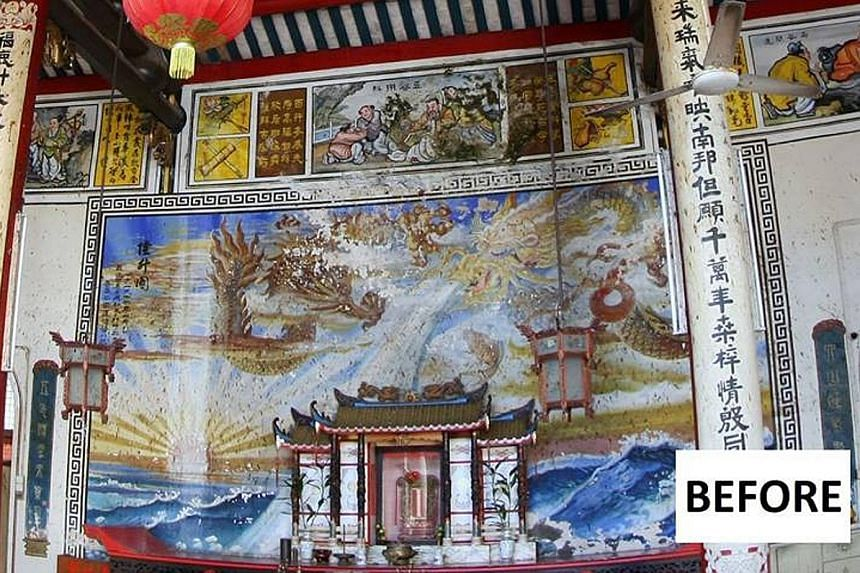 The murals at the 119-year-old Ng Fook Thong Temple in Georgetown, Penang, were plastered over with cement during the renovation works that started in May. The temple had fallen into disrepair over the years and its custodians were afraid that the wh