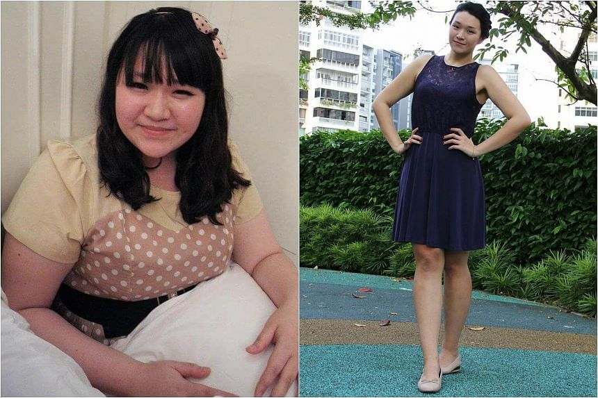 Ms Chloe Lim in 2013 (left) when she weighed 140kg and now, when she weighs 60kg less.