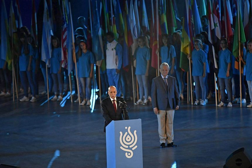 President of the International Swimming Federation, FINA, Julio C Maglione speaks during the opening ceremony of FINA Swimming World Championships 2017.