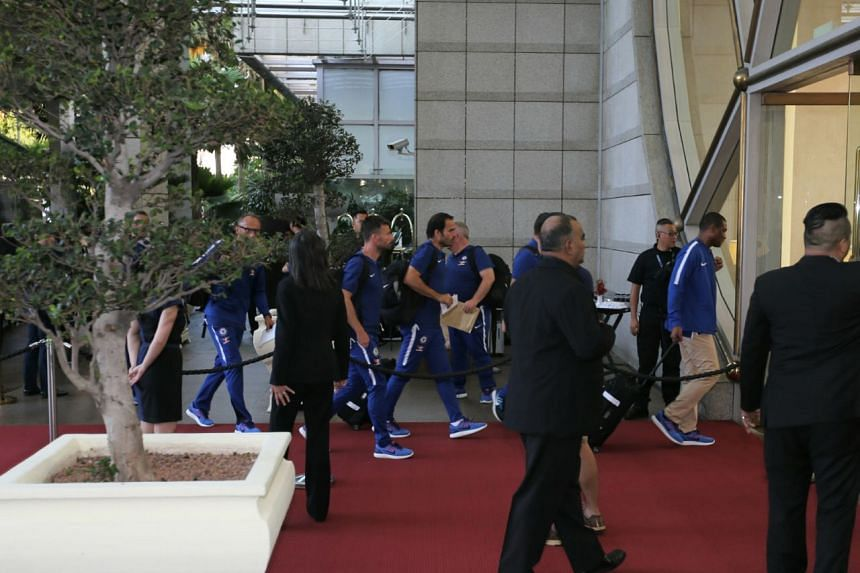 Chelsea players arrive at The Ritz-Carlton on Sunday (July 23) morning.
