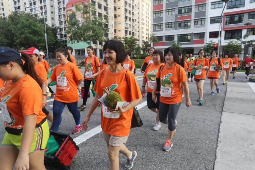 Participants at the charity durian run in Hougang on Sunday (July 23).