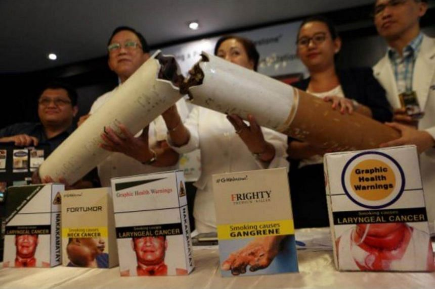 Health groups gather in a news conference on March 3, 2016, urging a stop to smoking. On July 23, 2017, the national smoking ban took effect.