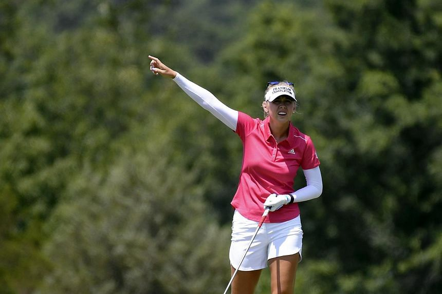 Jessica Korda, Nelly's older sister, reacting after her tee shot on the ninth hole during the final round of the US Women's Open golf tournament at Trump National Golf Club in New Jersey on July 16, 2017.
