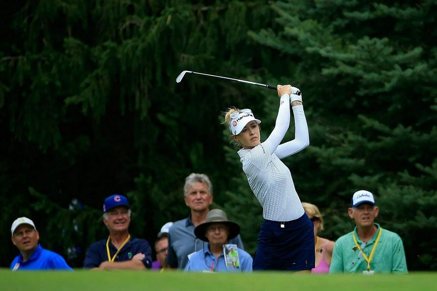 Nelly Korda hits her second shot on the fifth hole during the third round of the Marathon Classic on July 22, 2017.