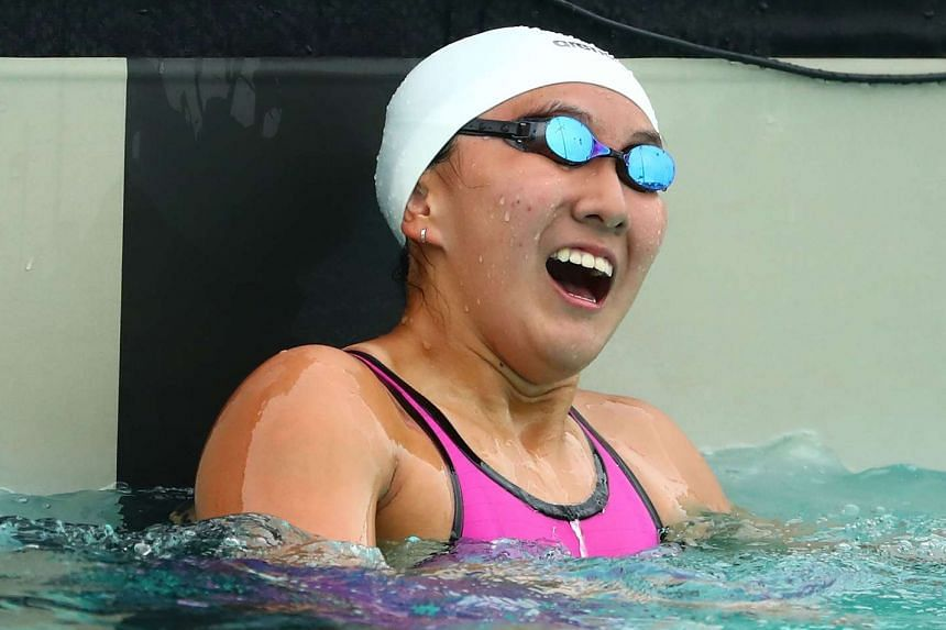 Quah Jing Wen, younger sibling of national swimmers Zheng Wen and Ting Wen, after winning the 100m butterfly final on day 4 of swimming at the Youth Commonwealth Games at Betty Kelly Kenning Aquatics Centre on July 21, 2017 in Nassau, Bahamas.