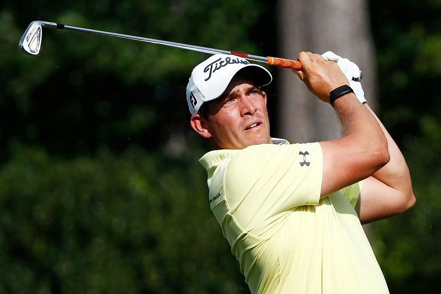 Scott Stallings plays his shot from the seventh tee during the third round of the Barbasol Championship on July 22, 2017.