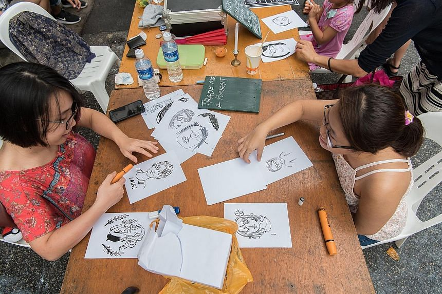 Barter Market, which encourages visitors to trade items for artists' works such as caricatures, will return for a second edition at the Singapore Coffee Festival.