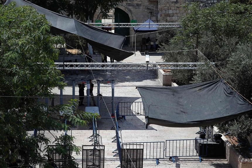 Security measures installed by the Israeli authorities included metal detectors and cameras outside Lions' Gate, a major entrance to the Al-Aqsa mosque compound in Jerusalem.