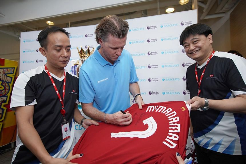 Steve McManaman at the Premier League Asia Trophy. He was at the event as the brand ambassador for Barclays.