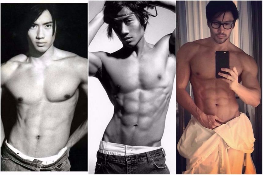 Chuando Tan (from left) during his modelling heyday in 1993, in a photo shoot when he was 34 in 2001 and a selfie taken recently at the age of 50.