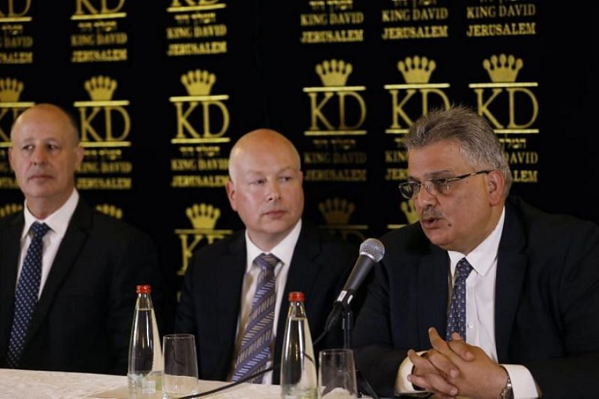Mr Jason Greenblatt (centre), United States President Donald Trump's Middle East envoy, with Mr Tzachi Hanegbi (left), Israeli Minister of Regional Cooperation, and Mr Mazen Ghoneim (right), head of the Palestinian Water Authority, during a news conf