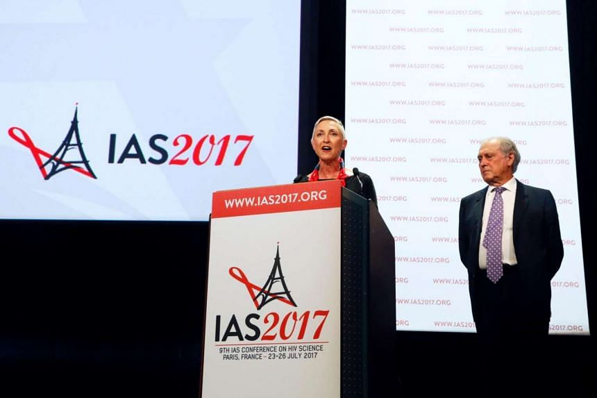 International Aids Society president Linda-Gail Bekker (left) and President of the French National Ethics Advisory Committee and conference chairman Jean-Francois Delfraissy at  the 9th International Aids Society conference on HIV Science on July 23,