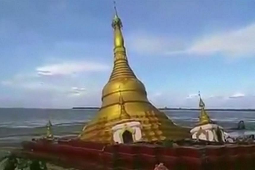 Video footage captured the moment a Buddhist pagoda in central Magway region in Myanmar collapsed and fell into the Ayeyarwaddy River on Thursday (July 20).
