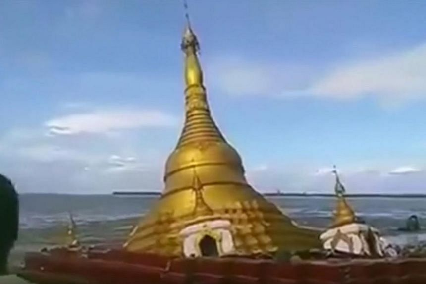A Buddhist pagoda in central Magway region in Myanmar collapsed and fell into the Ayeyarwaddy River due to rising floodwaters