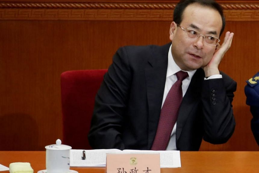 Mr Sun Zhengcai (in a March 2015 photograph) had been party chief of Chongqing until an abrupt announcement earlier in July said he no longer had the position and had been replaced by Mr Chen Min-er.
