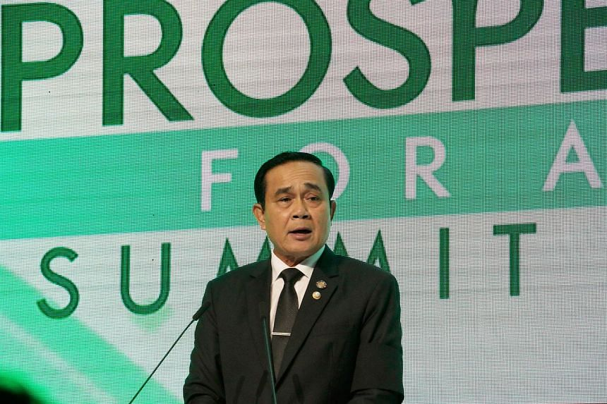 Thailand's Prime Minister Prayut Chan-O-Cha speaks at a forum on the sidelines of the Association of Southeast Asian Nations (ASEAN) summit in Manila on April 28, 2017.