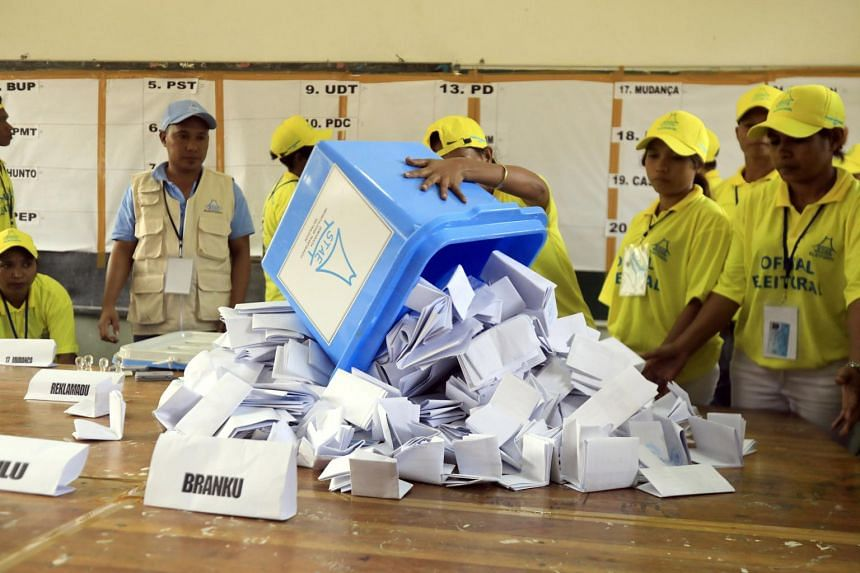 East Timorese workers count votes during the parliamentary election in Dili, East Timor also known as Timor Leste on July 22, 2017.