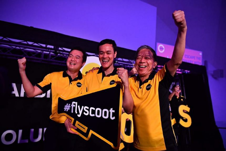 (From left) Scoot's chief commercial officer Leslie Thng,  chief executive officer Lee Lik Hsin and chief operations officer Ho Yuen Sang at a media conference on July 25, 2017.