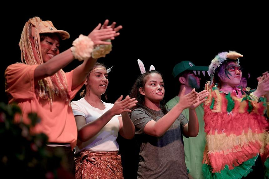 Republic Polytechnic students in How Singapore Got Its Name, a sensory- friendly production about the founding of Singapore. It is suitable for children with special needs.