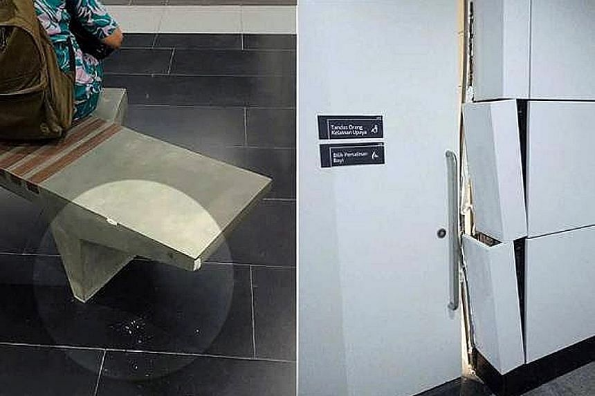 Gouges have been found on the benches in at least four underground stations and wall panels have been vandalised as well. Malaysia's MRT Corp has spent thousands of ringgit to repair the damage.